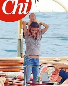 Beautiful new Mom with her cute son Stefano Carlos Casiraghi, Fourth Grandchild of Blessed Princess Caroline of Monaco, on the family yacht Pacha III.  Summer Holiday 2017.