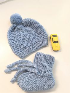 Baby Boy Set - Hat and Booties - Size months by SweetKnitsStudio on Etsy