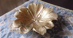 Vintage brass sand cast May Apple Leaf Tray or Dish by Virginia Metalcrafters
