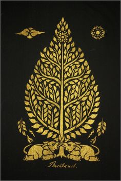 Thai traditional stencil art of bodhi tree by by AmornGallery