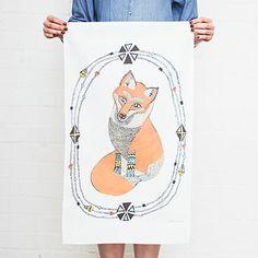 Curious Little Fox Tea Towel