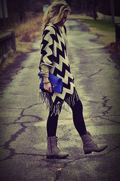 Chevron shawl, studded boots and blue clutch. I would like it all please...