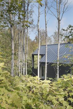 Let's have a look at a residential house by DKA Architects built in the Laurentians. Designed by DKA Architects, this residence is hidden by a curtain of Saint Sauveur, Small Modern Home, Lake Cottage, Forest House, Architecture Details, Habitats, House Plans, Farmhouse, House Design