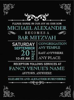 Clean, elegant and classic Bar Mitzvah Invitation. #bar_mitzvah_invitations