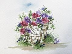 How cute is this little flower cart?! ❤️ Tutorial is up on my YouTube Channel! Link in bio! ✔️ #artimpressions #watercolor #watercolortheartimpressionsway #redhatters
