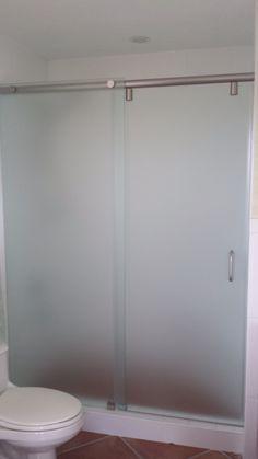Acid Etched Frameless Hydroslide Shower Door