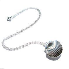 Sea Shell Locket, Mermaid Necklace, Beach Locket, Silver Plated Brass, Little Shell Locket, Nautical Jewelry, Gift Wrap