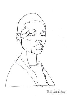 """Gaze 456"" continuous line drawing by Boris Schmitz"