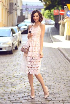 spring / summer - street style - street chic style - summer outfits - wedding outfits - party outfits - dresses - white lace dress + nude stilettos + nude shoulder bag