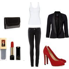 Red pumps. Black blazer. Red lipstick.