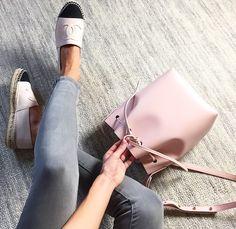 Chanel espadrilles and a Mansur Gavriel bucket bag! Gorgeous.