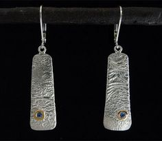 Reticulated Sterling SIlver Earrings with sapphire & 18Kt Gold