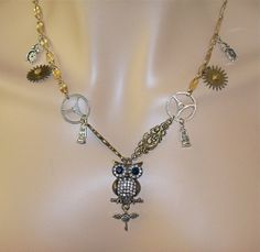 Steampunk Jeweled Owl Necklace and Earrings by Ricksiconics, $49.00