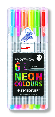 Staedtler Triplus Neon Fine liner Pens Pack of 6 Ideal for Johanna Basford Books Fabric Markers, Paint Markers, Johanna Basford Books, School Stationery, Kids Stationery, Cute School Supplies, Marker Pen, Pen Sets, Back To School