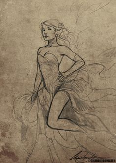Technique: Scan sketch, increase contrast, then Photoshop onto a parchment background (from Lilith Sketch by `Charlie-Bowater) Charlie Bowater, Traditional Witchcraft, Girl Sketch, Sketch Art, Sketching Techniques, Art Journal Inspiration, Creative Inspiration, Cool Sketches, Art Reference Poses