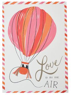 Love Is In the Air - Save The Date Postcard from The First Snow, love is in the air, hot air balloon, love, engagement, save the date, wedding, postcard, save the date postcard
