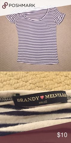 Striped shirt Cute top perfect for summer, really light material. Worn a handful of times. sturpes are blue and white Brandy Melville Tops Tees - Short Sleeve