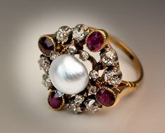 Antique pearls – 18k Victorian 1800s ring with a natural salt water pearl, ruby…