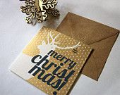 Reindeer with an Ornament in his Antler - Hand Screenprinted Christmas Card