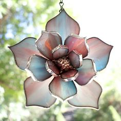 Informations About Stained Glass Succulents, Blue Pink Glass Plants Window Hanging, Stained Glass Decor, Glass Flower Pin You can easily Hanging Stained Glass, Stained Glass Ornaments, Stained Glass Suncatchers, Stained Glass Flowers, Stained Glass Projects, Stained Glass Art, Stained Glass Windows, Mosaic Glass, Modern Stained Glass