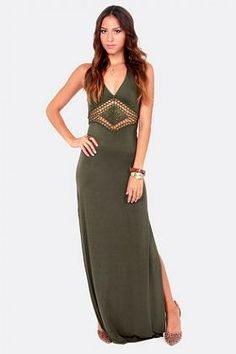 A sheer crochet lace front panel sets this stunning maxi apart, while two daring 33