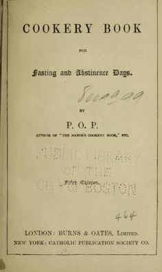 Cookery book for fasting and abstinence days
