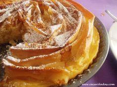 Tarta de pasta filo o ruffled milk pie Pasta, Chicken Salad Recipes, High Tea, Apple Pie, Sweet Recipes, French Toast, Milk, Baking, Breakfast