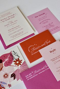 This modern wedding invitation suite is full of bright pinks, reds and all the lovey dovey feelings of valentine's day. Creative Wedding Invitations, Minimalist Wedding Invitations, Destination Wedding Invitations, Pink Invitations, Wedding Invitation Suite, Wedding Stationary, Invitation Design, Wedding Paper, Just In Case