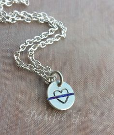 Heart On The Line Hand Stamped Thin Blue Line or by TerrificTus, $15.00