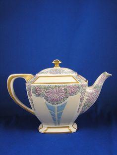 "Lenox Belleek Arts & Crafts Enameled Floral Design Teapot (Signed ""A.A. Spitz""/c.1906-1924)"
