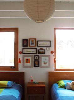 shared bedroom: art & reading lights