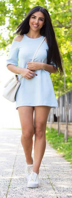 Baby Blue Dress Summer Style by Duygu Senyurek