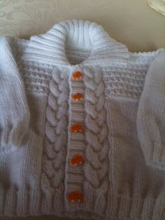 Double knit cardigan with VW camper van type buttons April 2015