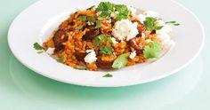 Paella s chorizem Chorizo, Paella, Fried Rice, Feta, Fries, Ethnic Recipes, Nasi Goreng, Stir Fry Rice