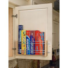 Rev-A-Shelf Large Door Mount Foil Rack Designed for 15 inch, 18 inch and 21 inch Wall cabinets this beautiful wood organizer brings your foil and storage bags within easy reach while freeing up valuable drawer and pantry space. Small Kitchen Organization, Small Kitchen Storage, Kitchen Pantry, Home Organization, Food Storage, Small Storage, Rv Storage, Kitchen Hacks, Plastic Storage