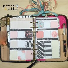 Erin Condren inspired horizontal layout for personal planner inserts- free print and cut files on our blog  #plannersandcoffee #planneraddict #freeprintable