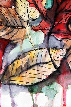 very beautiful art work of fall leaves by talented Alisa Burke