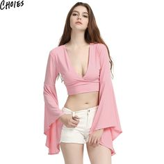 Choies Cute Women 2 Colors Deep V Neck Long Flared Sleeve Tight Casual Crop Top…