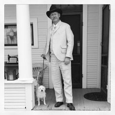 The Co-Desginer here at Lily Absinthe in his new linen suit we made, getting ready to a walk to town at our #11 in Tombstone.