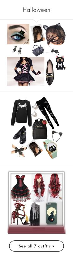 """""""Halloween"""" by eleanor991 ❤ liked on Polyvore featuring Kate Spade, Handle, Amanda Rose Collection, Boohoo, Betsey Johnson, Cara, Dsquared2, Diane Von Furstenberg, Kayso and Disney"""