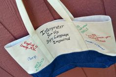 Sign Language Interpreter Tote - Hu morous Quotes on a Durable Cotton . Sign Language Interpreter, How To Know, Reusable Tote Bags, Teaching, Signs, Quotes, Names, Etsy, Awesome