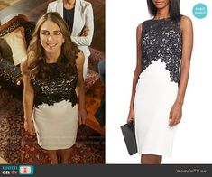 Queen Helena's black and white lace dress on The Royals.  Outfit Details: https://wornontv.net/63355/ #TheRoyals