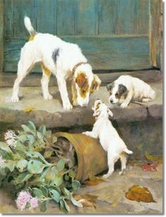 """Wire Haired Fox Terrier with Puppies"" -- by Arthur Wardle (British, Wire Fox Terrier, Bull Terrier Dog, Smooth Fox Terriers, Vintage Dog, Scottish Terrier, Jack Russell Terrier, Dog Portraits, Animal Paintings, Dog Art"