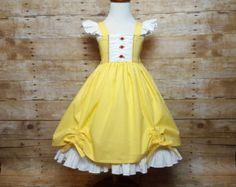 Belleza de la Belle y la bestia niñas niño Disney princesa todos los días vestido inspirado, tallas 12 meses a 12 para niñas