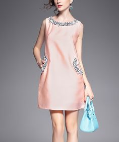 Another great find on #zulily! Pink Rhinestone-Embellished Shift Dress #zulilyfinds