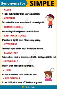 SIMPLE Synonym: List of 16 Synonyms for Simple with Useful Examples Learn English Grammar, English Idioms, English Language Learning, English Phrases, Learn English Words, Teaching English, Teaching Spanish, Spanish Language, French Language