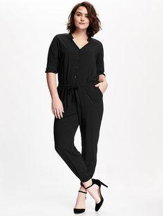 Long-Sleeve Plus-Size Jumpsuit