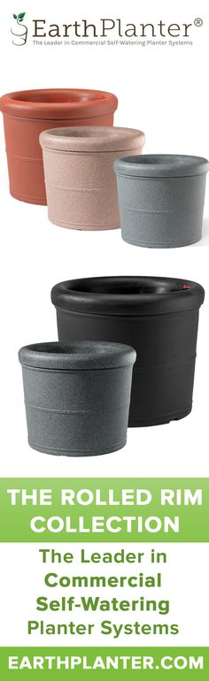 A top pick and the #1 selling self-watering planter used on college and university campuses. These containers are ideal for any application where a solid, very stable planter is required. http://earthplanter.com/shop-self-watering-planters/large-rolled-rim/