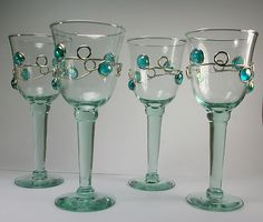 Hand Decorated Wine Glass Glasses Goblet Aqua Blue Metal Cabochon Set of Four on ebay