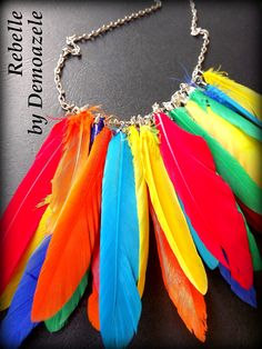 Multicolored feather necklace, perfect look this summer full of personality. Feather Necklaces, Tassel Necklace, My Style, Earrings, Personality, Jewelry, Summer, Fashion, Ear Rings